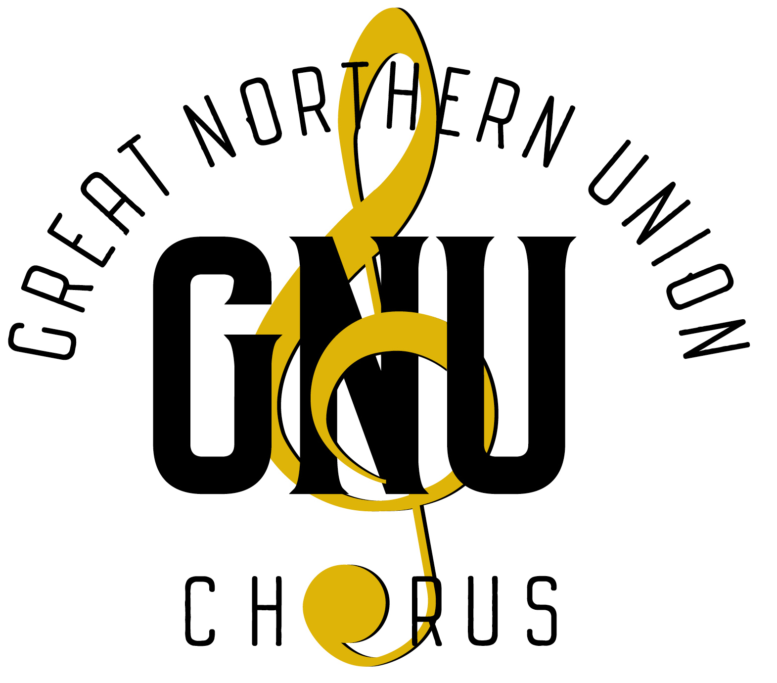 GNU logo with gold treble clef sign and black text