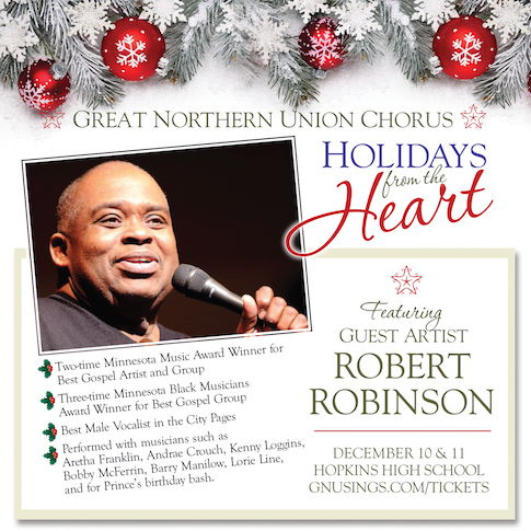 Poster of Holidays from the Heart: Featuring Robert Robinson. Frosted pine branches and red Christmas bulbs